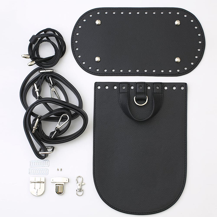 レザーパーツセット リュックサック用 ブラック/金具シルバー
