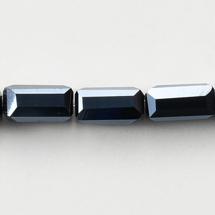 カットガラスビーズ/レクタングルカット 6.5×3.5×3.5mm ジェット