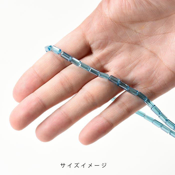 カットガラスビーズ/レクタングルカット 6.5×3.5×3.5mm クリスタル×シルバー