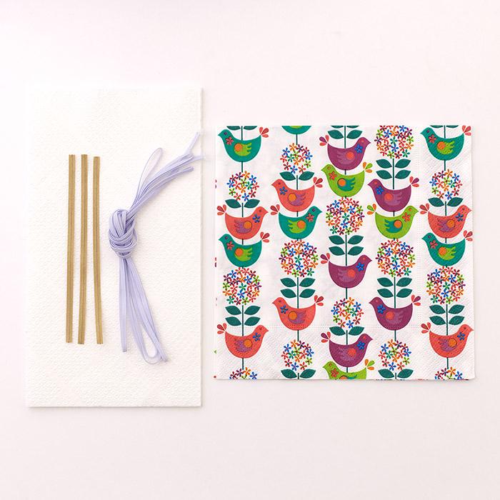 【在庫限り】ペーパーナプキンで作る使い捨てマスク材料セットtypeB 10 小鳥と花束