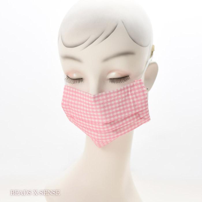 【在庫限り】ペーパーナプキンで作る使い捨てマスク材料セットtypeB 16 ギンガムチェックピンク