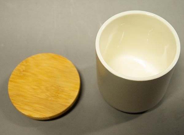 【OUTLET】陶器製キャンドル用容器(木蓋つき)