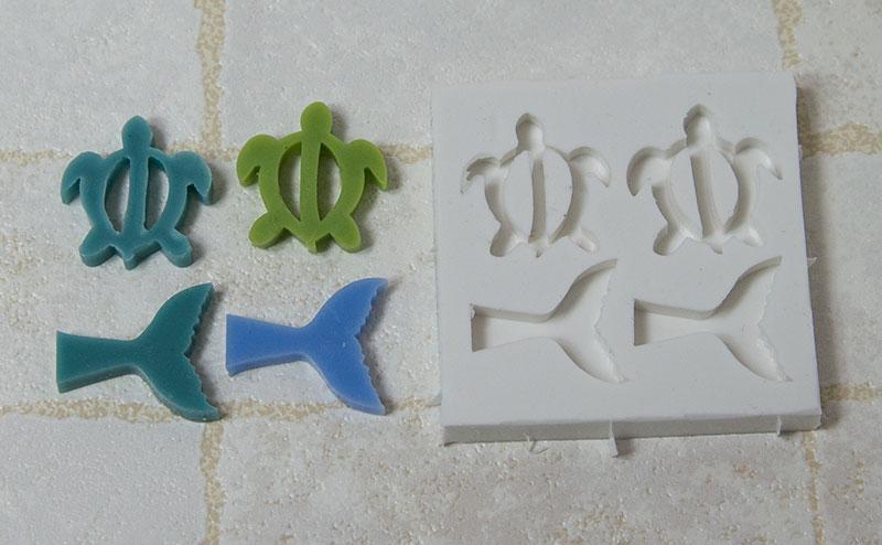 【カメ&クジラ】 ハワイアンキャンドル用シリコンモールド 4個1組