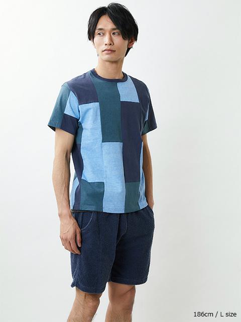 S/S STRIPE PATCH WORK TEE [2021SS] / ショートスリーブストライプパッチワークTシャツ