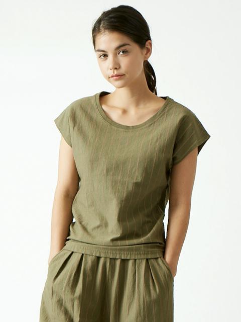 WOMEN'S STRIPE NO SLEEVE TEE / ウィメンズストライプノースリーブTシャツ