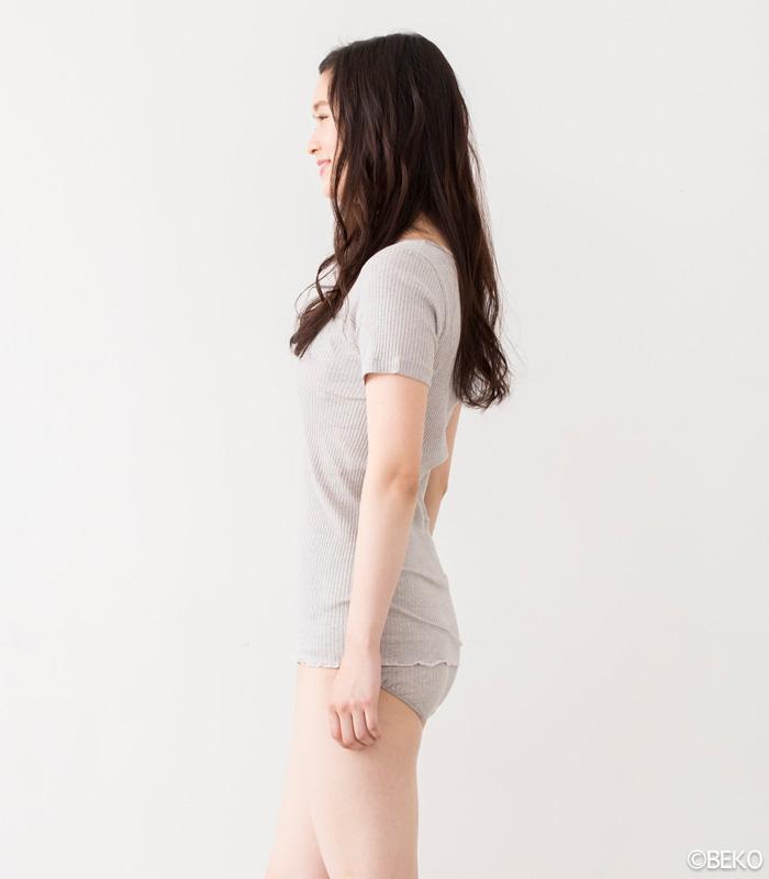 オーガニックコットン 天衣無縫 リブカラー半袖シャツ(メール便使用で送料無料!)