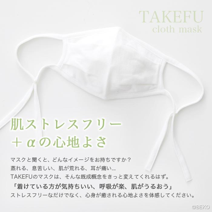 【送料無料】【2枚組】TAKEFU竹布・竹の布マスク(白)  大人用  (メール便送料無料)抗菌 保湿 布マスク ガーゼマスク