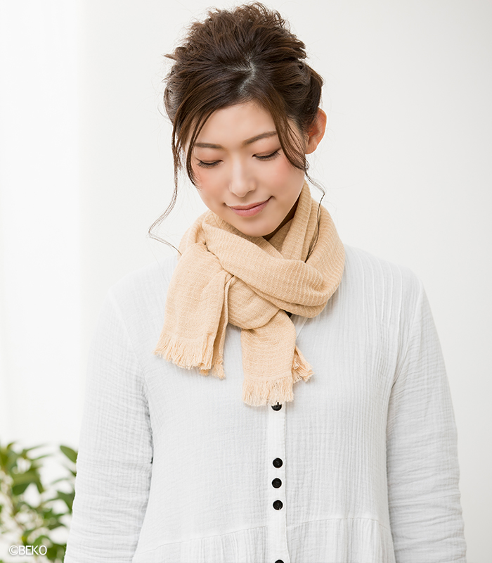 fifu オーガニックコットンタオルマフラー草木染め(メール便で送料無料)