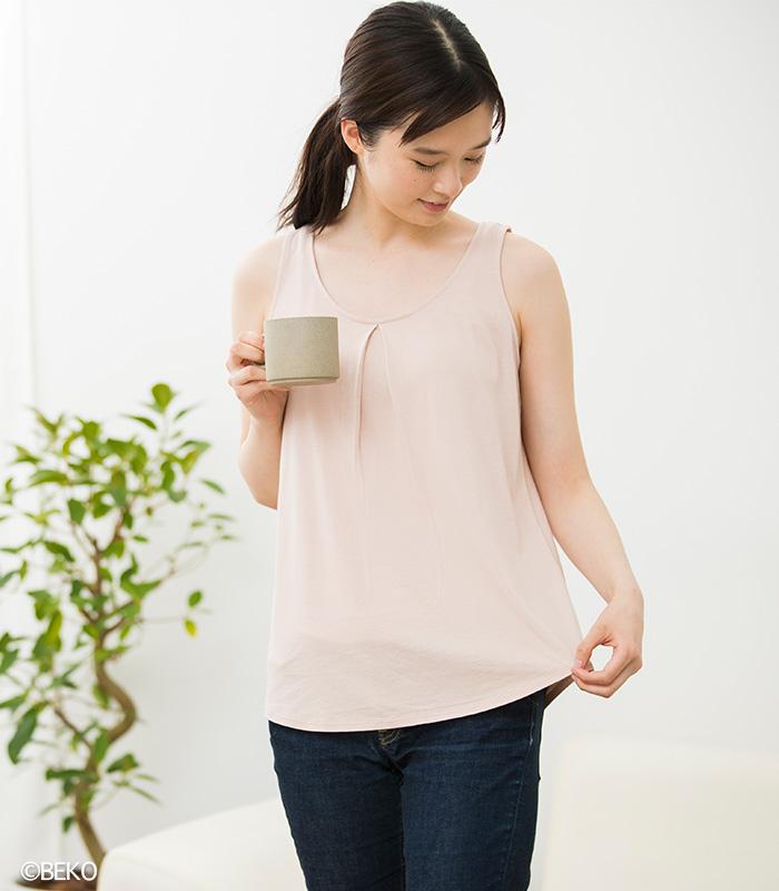 TAKEFU 竹布 タックフレアーノースリーブ (レディース)(メール便使用で送料無料!)