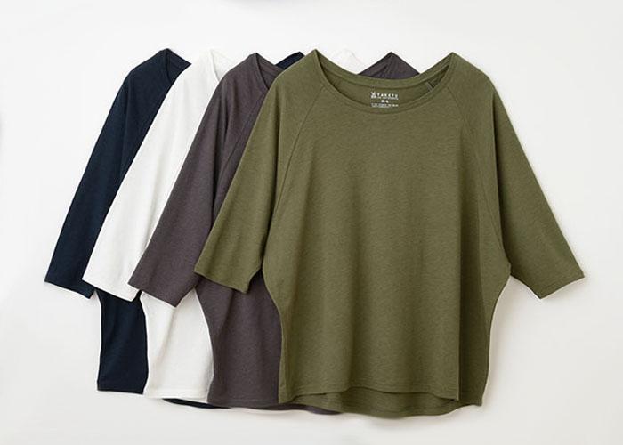 TAKEFU 竹布ドルマン七分袖Tシャツ(レディース)(メール便使用で送料無料!)