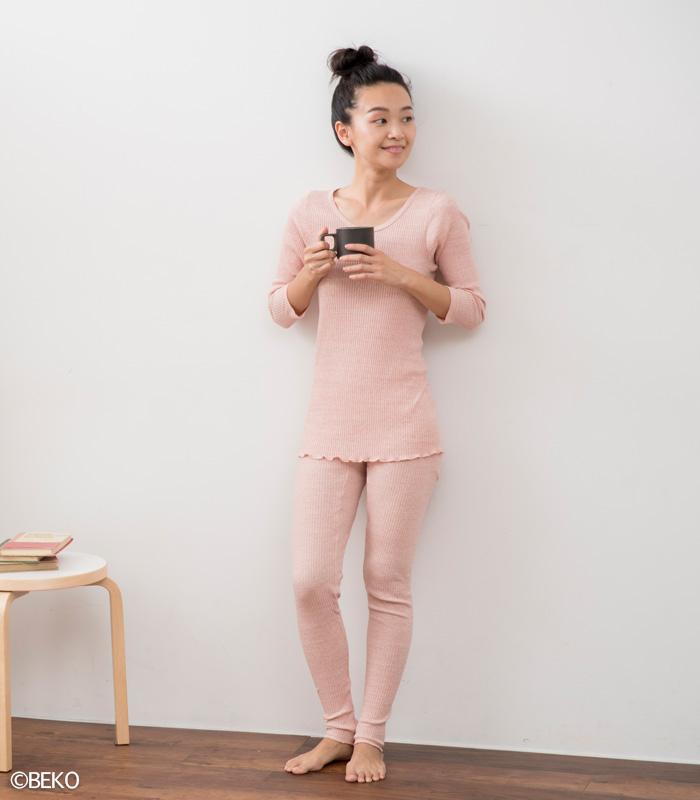 オーガニックコットン天衣無縫  リブカラー・八分袖シャツ(メール便使用で送料無料!)