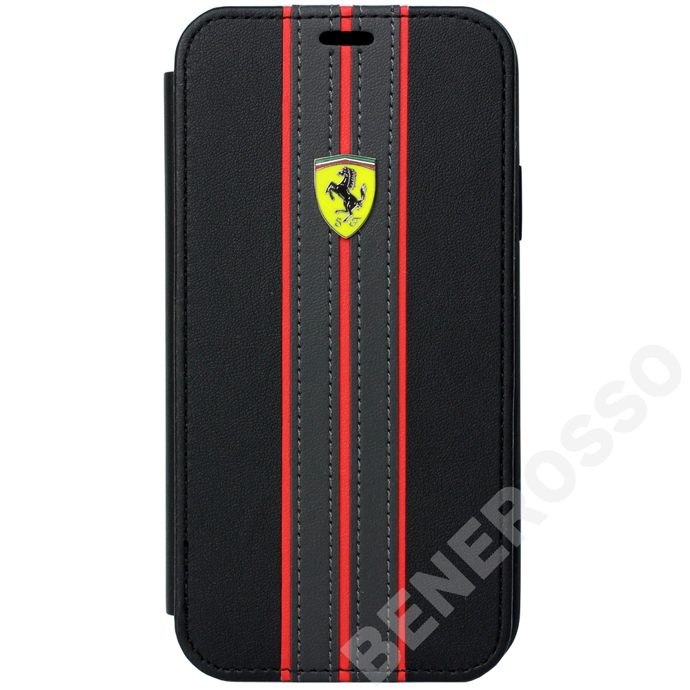 フェラーリ iPhoneX /XS PUレザー ブックタイプケース On Track Logo BK FESURFLBKPXBKR