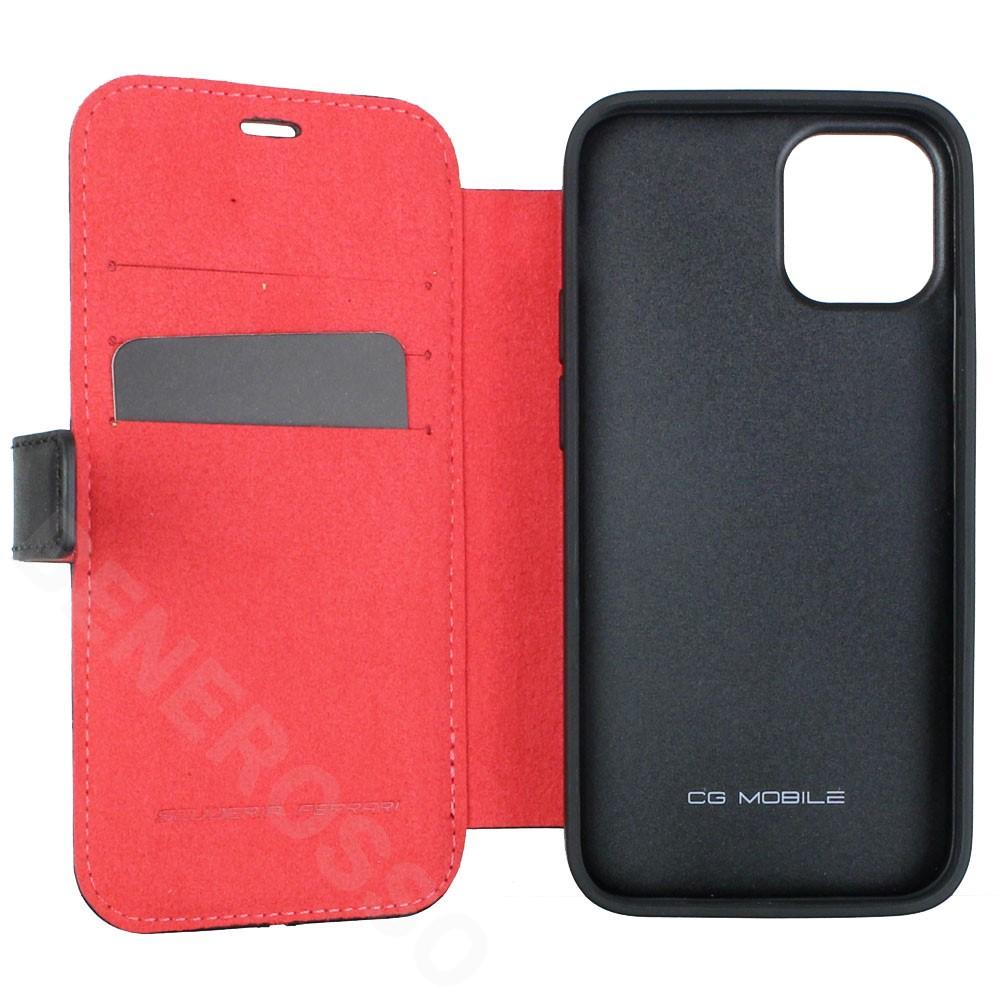 フェラーリ iPhone12 mini レザー ブックタイプケース Middle Stripe ブラック FEOSIFLBKP12SBK