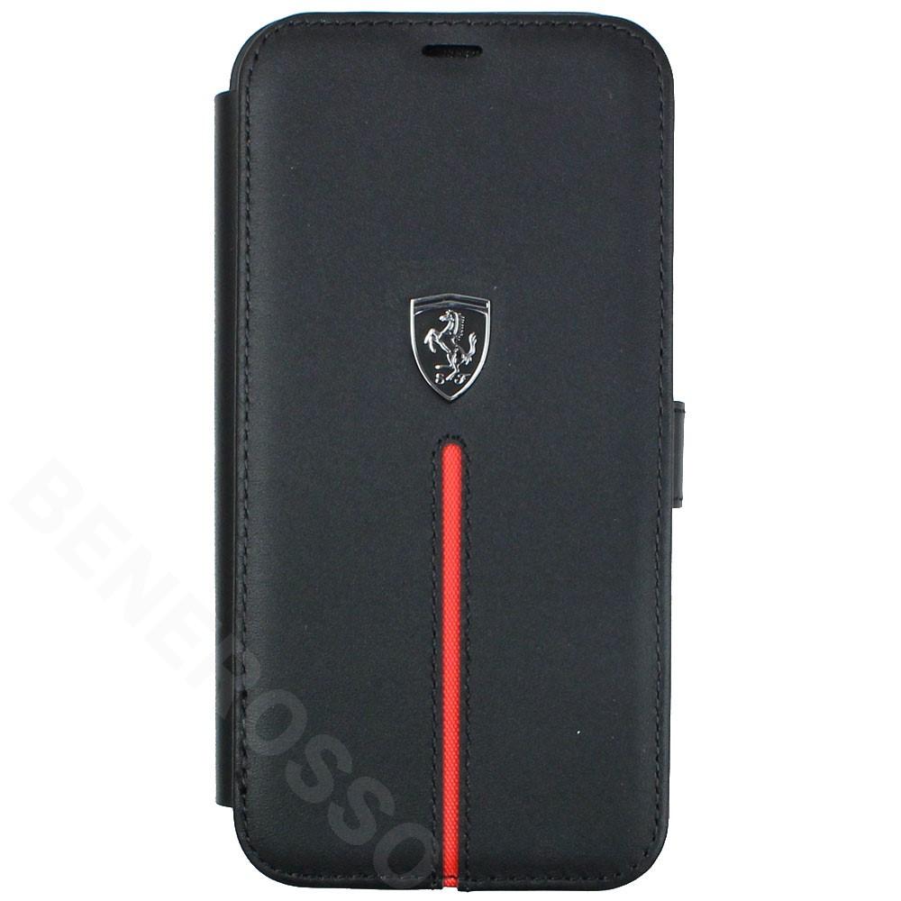 フェラーリ iPhone12 / 12 Pro レザー ブックタイプケース Middle Stripe ブラック FEOSIFLBKP12MBK