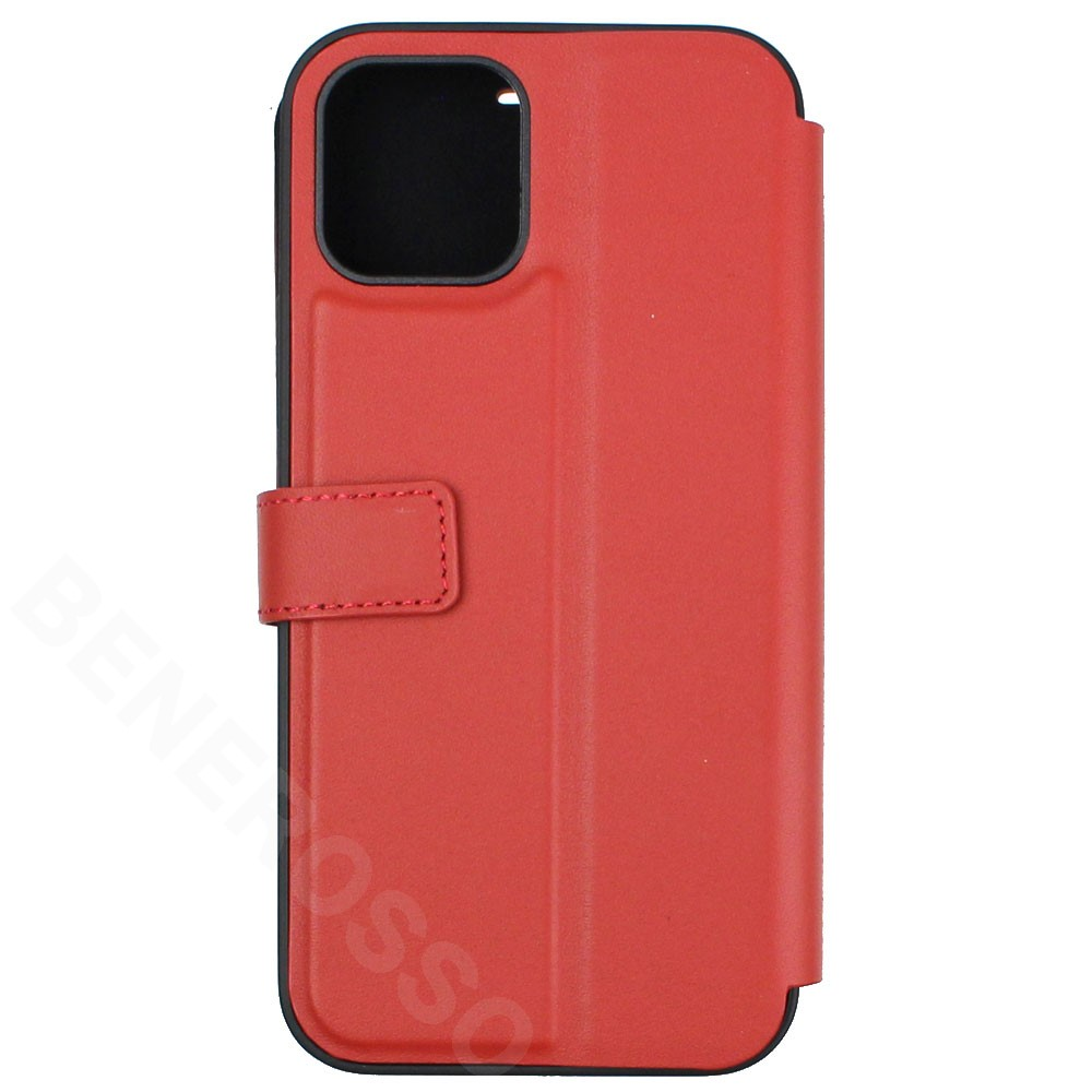 フェラーリ iPhone12 / 12 Pro レザー ブックタイプケース Middle Stripe レッド FEOSIFLBKP12MRE