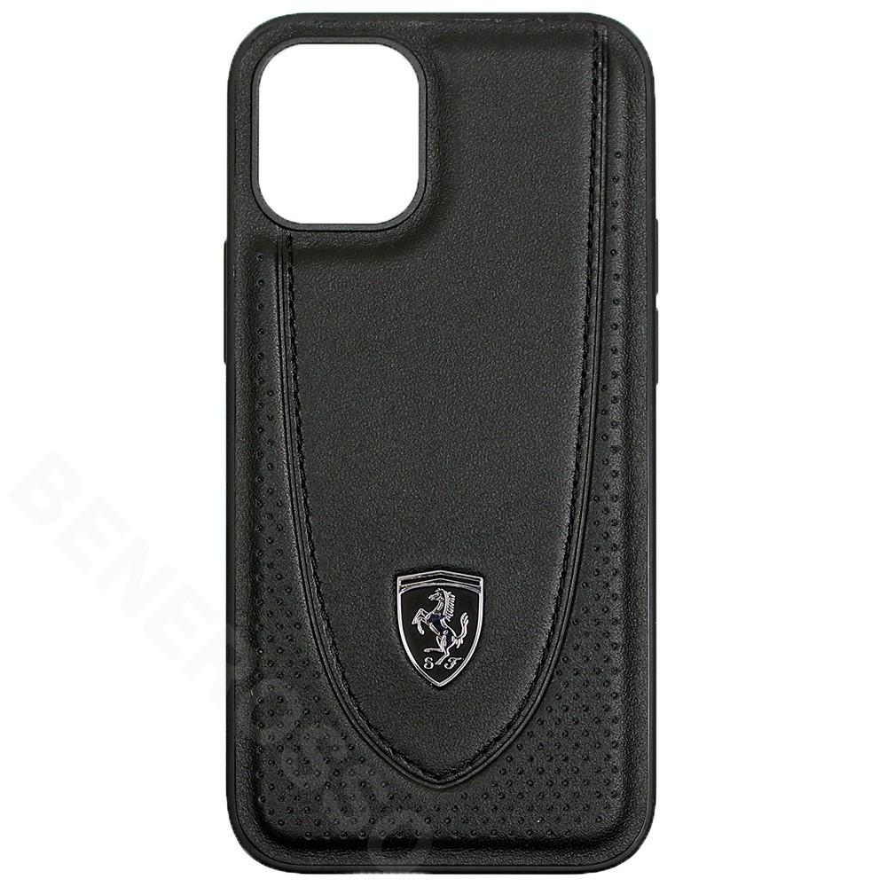 フェラーリ iPhone12 mini レザー ハードケース Off Track Perforated ブラック FEOGOHCP12SBK