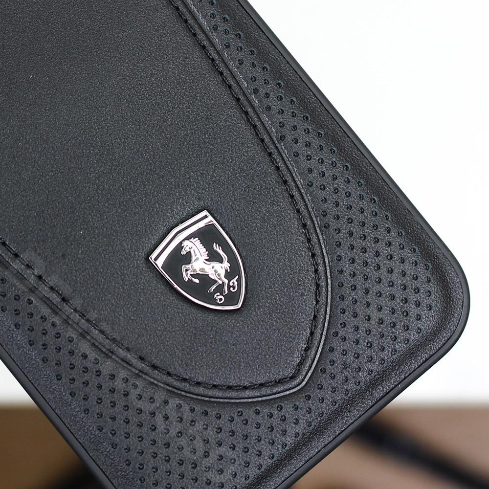 フェラーリ iPhone12 / 12 Pro レザー ハードケース Off Track Perforated ブラック FEOGOHCP12MBK