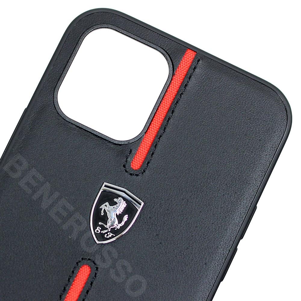 フェラーリ iPhone12 / 12 Pro レザー ハードケース Middle Stripe ブラック FEOMSHCP12MBK (宅急便コンパクト対応)