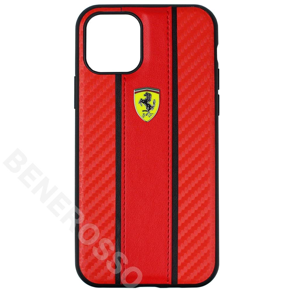 フェラーリ iphone 11Pro PUレザーカーボン調 ハードケース レッド FESNMHCN58RE 【宅急便コンパクト対応】