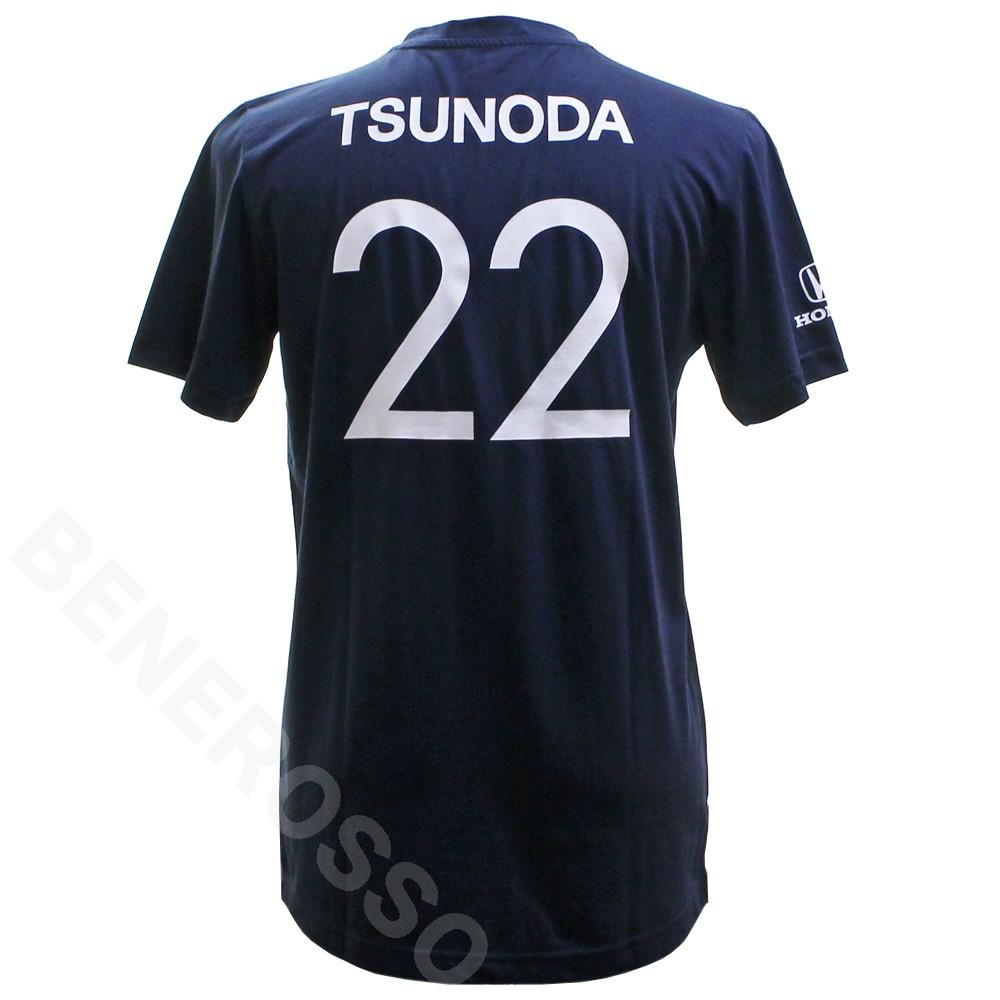 スクーデリア アルファタウリ ホンダ チーム 角田裕毅 ゼッケン 22 Tシャツ ネイビー SAT-ES-2113