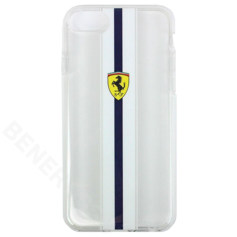 フェラーリ iPhoneSE2/8/7 クリア バックカバー ブルーストライプ FESPIHCI8IT
