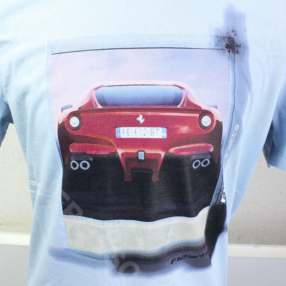 フェラーリ メンズ F12 ベルリネッタ Tシャツ ライトブルー