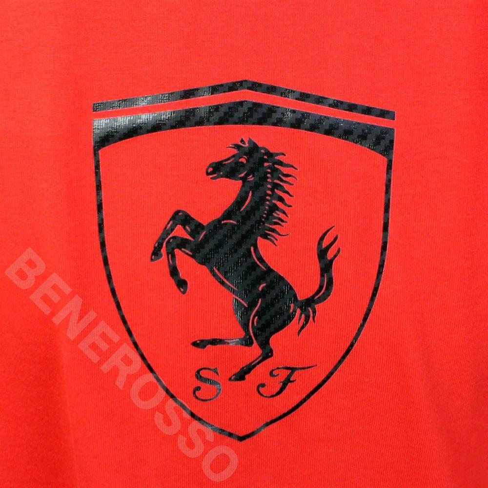 フェラーリ メンズ スクデット カーボン Tシャツ レッド