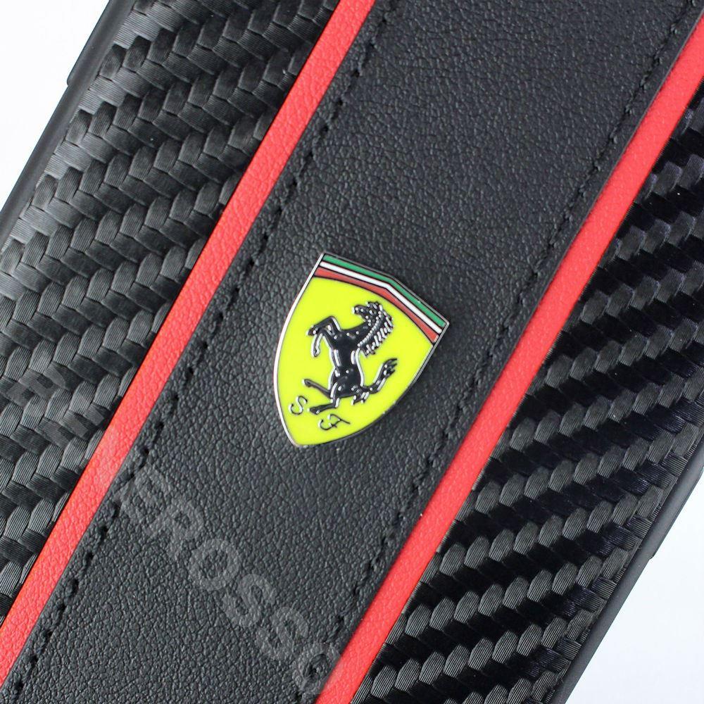 フェラーリ iPhone SE2/8/7 PUレザー カーボン調 ハードケース ベルティカル ストライプ ブラック  FESNMHCI8BK