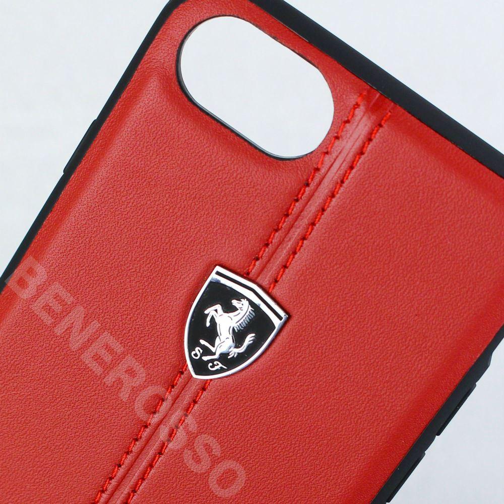 フェラーリ iPhone SE2/8/7 ベルティカル ストライプ レザーハードケース レッド FEHDEHCI8RE