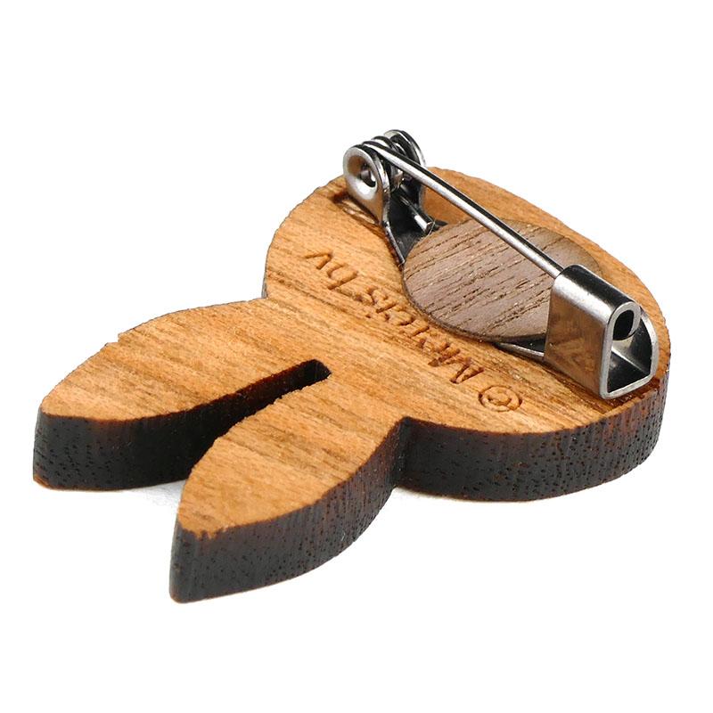 木製アクセサリーシリーズ ブローチ おかお