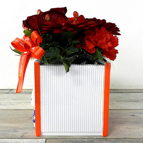 【直送商品B】絵本プランターカバーアレンジ レッド