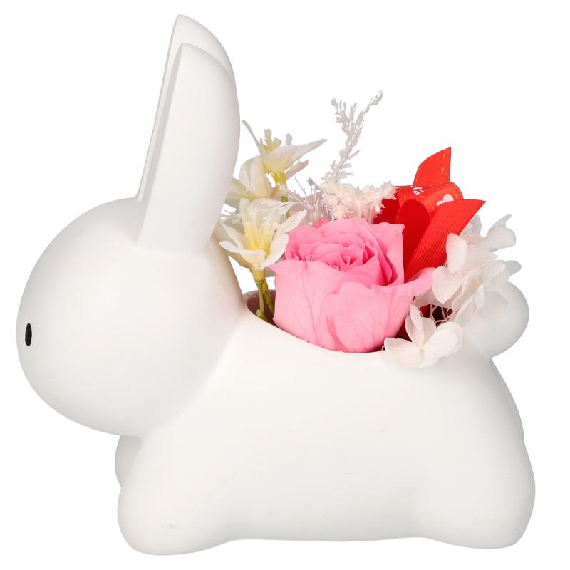 ◆こうさぎカバー プリザーブドフラワーセット ピンク