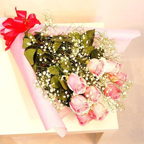 【直送商品B】極上 大輪バラ花束 10本 パステルピンク