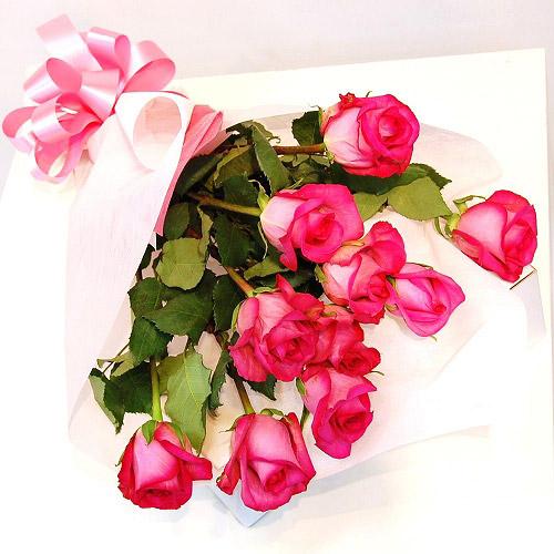【直送商品B】極上 大輪バラ花束 10本 ピンク