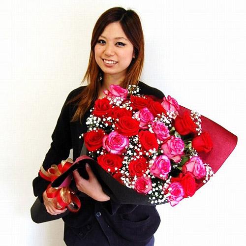 【直送商品B】極上 大輪バラ花束 30本プラスワン 赤系