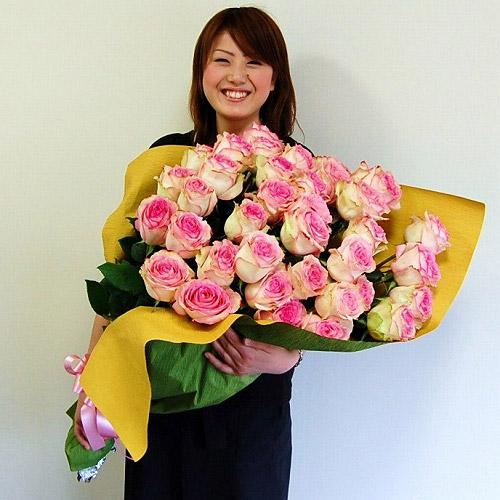 【直送商品B】極上 大輪バラ花束 40本 ピンク