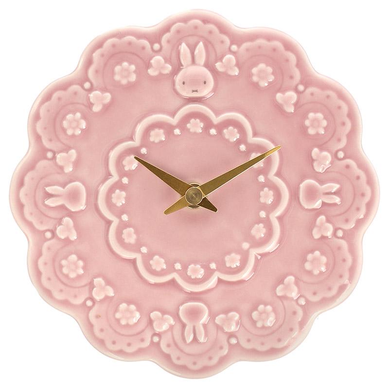 フラワーミッフィー お花の壁掛け時計 ピンク