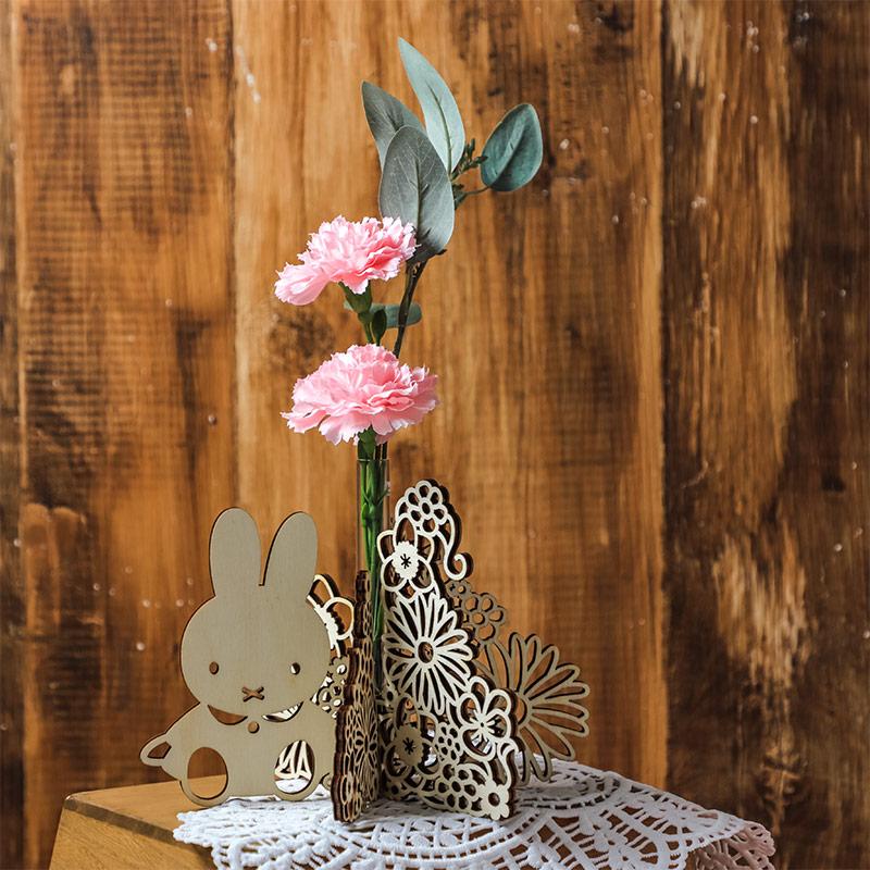 ミッフィー木製一輪挿しアートフラワーセット【2021母の日】 ※他商品同梱・日時指定不可