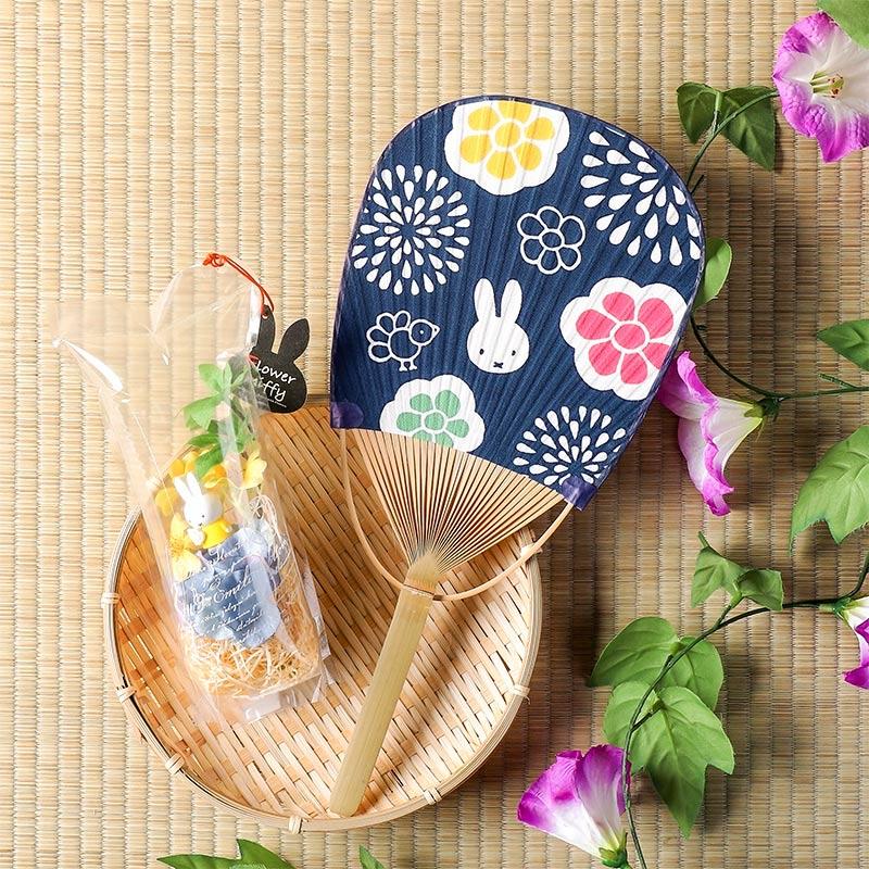 【暑中見舞い】てぬぐいうちわセット ちらし花