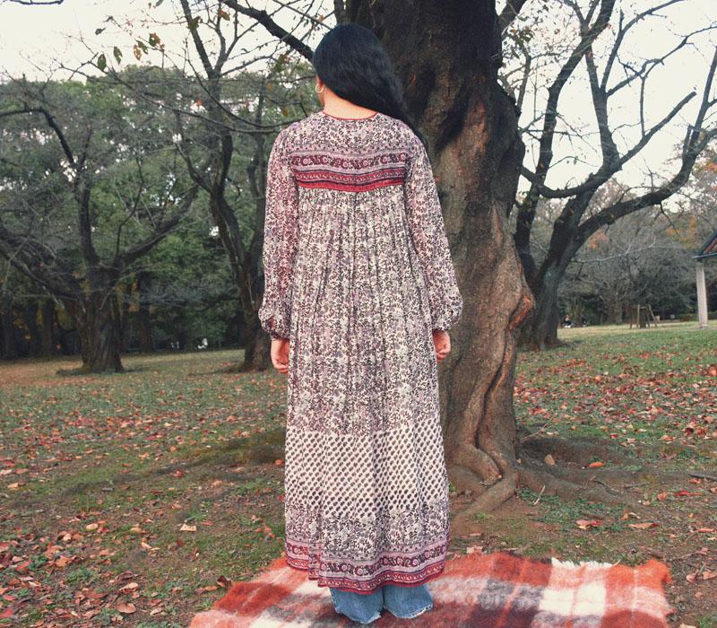 70's インド綿 ワンピース 花総柄 オーガニックコットン 表記(S) DEAD