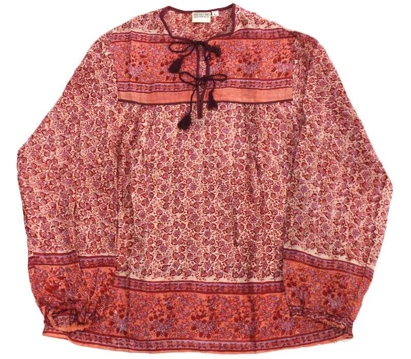 70's インド綿 チュニック 花総柄 オーガニックコットン 表記(L) DEAD