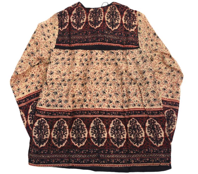 70's インド綿 チュニック 花総柄 オーガニックコットン 黒xベージュ 表記(M) DEAD