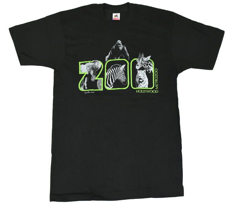 80's〜 FRUIT OF THE LOOM ''HOLLYWOOD METROZOO'' Tシャツ 表記(L) DEAD 黒