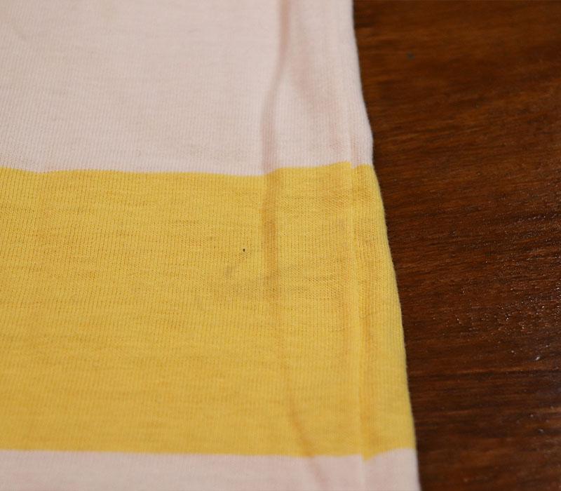 1960s? BORDER T-SHIRT , YELLOW X WHITE , Size S