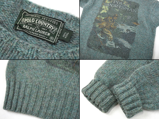 90's POLO COUNTRY ''POLO SPORTSMAN'' フィッシング柄 セーター 表記(XL)