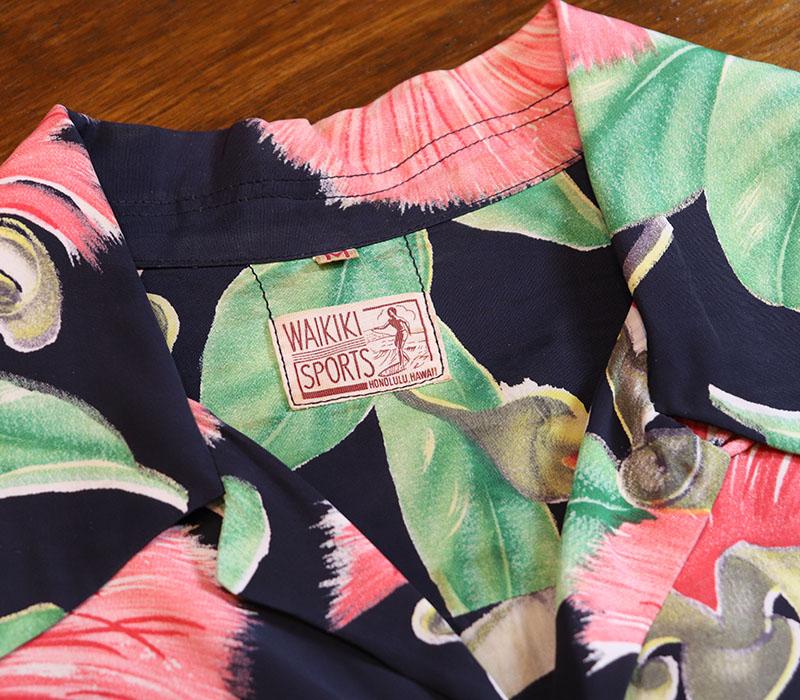 1950s HAWAIIAN SHIRT , BLK x PINK , Size M