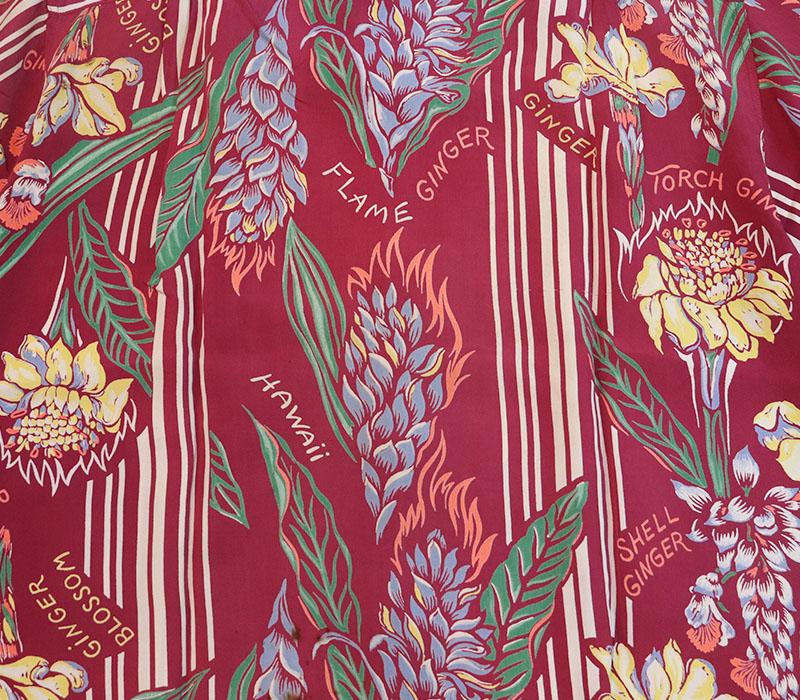 1950s HAWAIIAN SHIRT , GINGER FLOWER , Size M