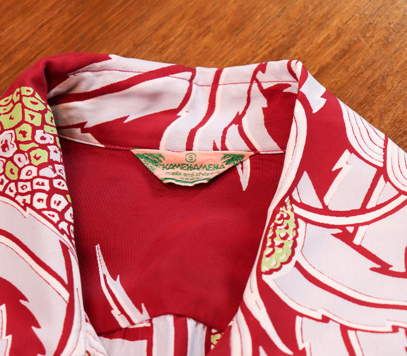 1950s HAWAIIAN SHIRT , KAMEHAMEHA , BORDER , RED , Size S
