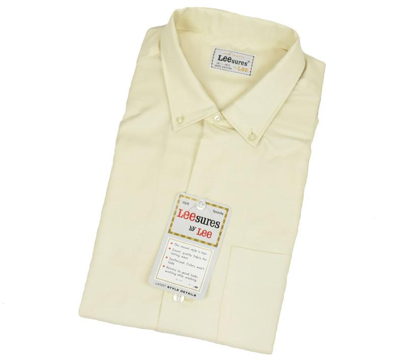70's Lee sures 100%コットン 3点留め BOX型ボタンダウンシャツ 表記(16-16 1/2) DEAD ライトイエロー
