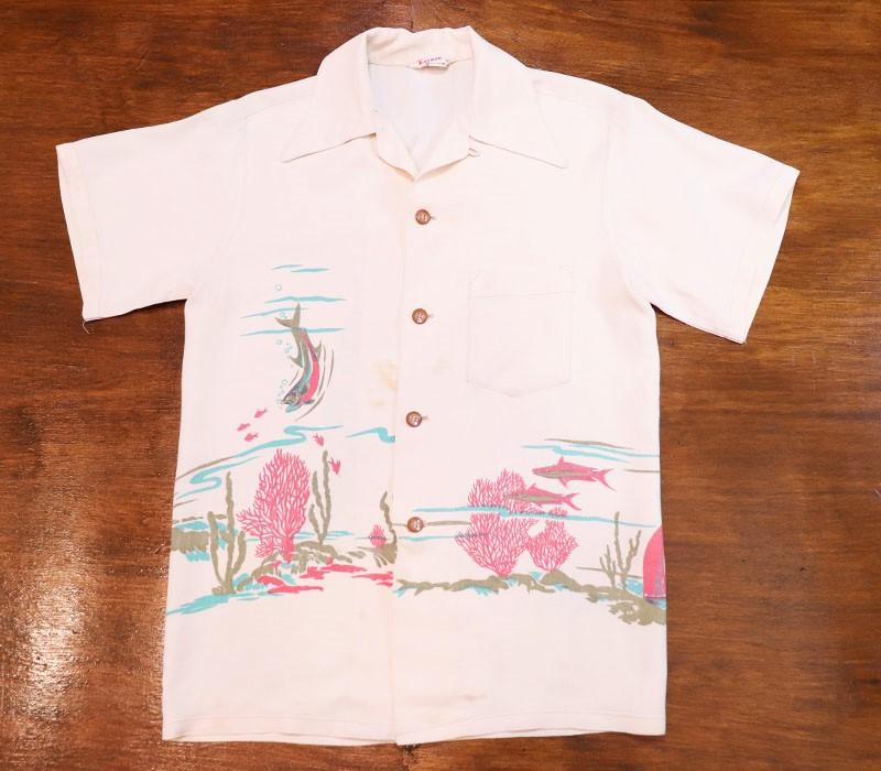 1940s HAWAIIAN SHIRT , BACK PANEL , KAYNEE , Size XS